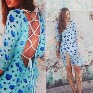 Rare! For love&lemons silk mini dress in blue